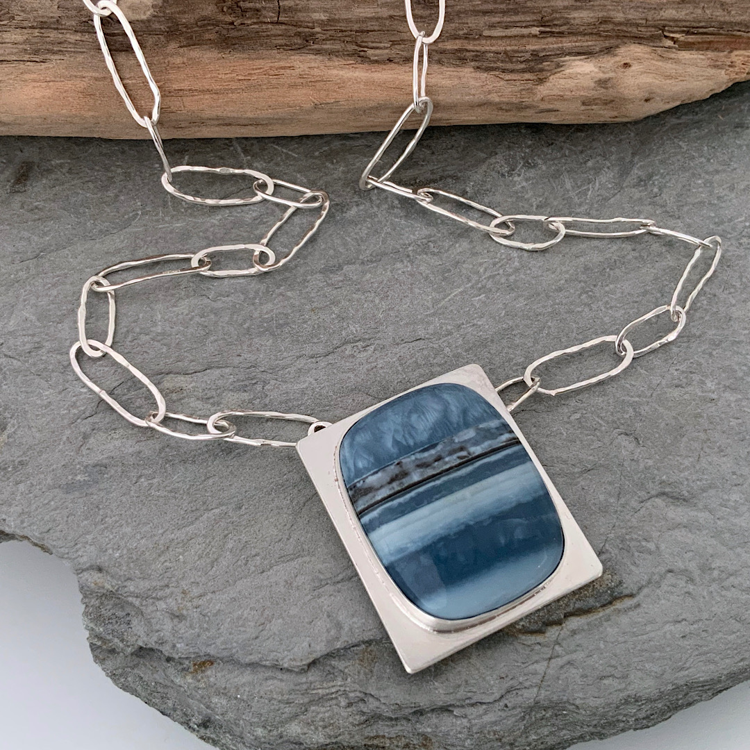 Blue opal and silver chain necklace